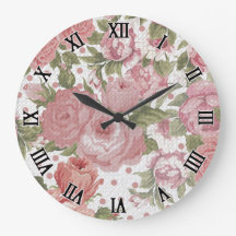 Vintage Floral Roses Dots Pattern Wall Clock