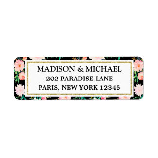 Vintage Floral Roses Modern Address Return Labels