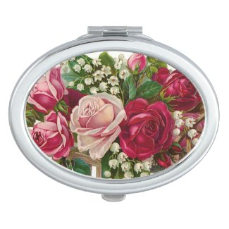 Vintage Floral roses oval compact mirror