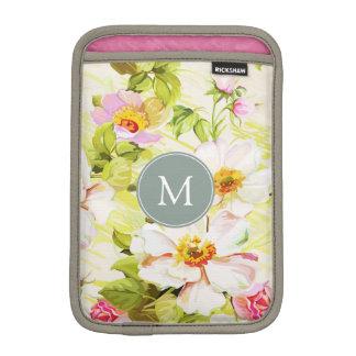 Vintage Floral Roses Peonies Monogram iPad Sleeve