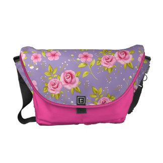 Vintage Floral Roses Pink Purple Pattern Messenger Bag