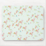 Vintage floral roses pink shabby chic rose flowers mouse pad