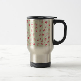 Vintage floral roses pink shabby chic rose flowers stainless steel travel mug