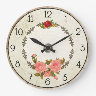 Vintage Floral Round Wall Clock