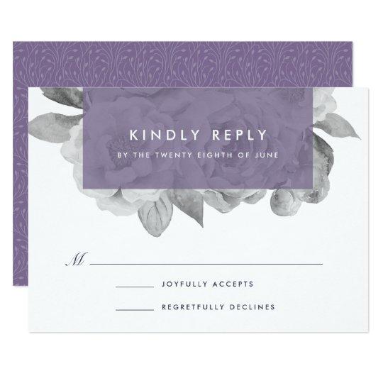 Vintage Floral RSVP Card | Violet