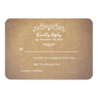 Vintage Floral Rustic Wedding RSVP Cards 9 Cm X 13 Cm Invitation Card