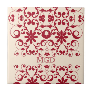 Vintage floral shabby and chic pattern monogram ceramic tiles