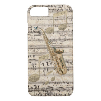 Vintage Floral Sheet Music Saxophone & Gold Music iPhone 7 Case