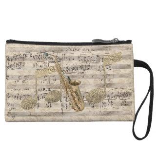 Vintage Floral Sheet Music Saxophone & Gold Music Wristlet