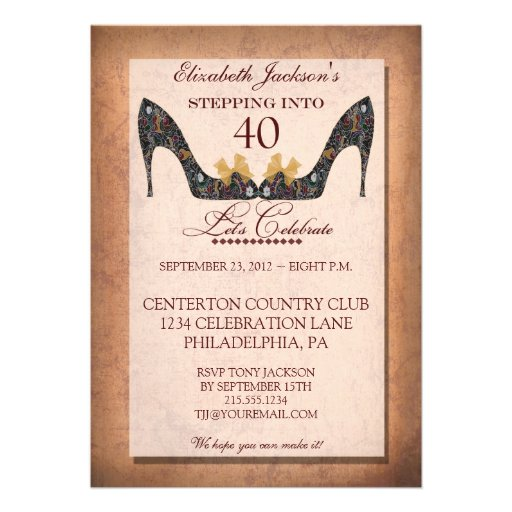 Vintage Floral Shoe 40th Birthday Invitation