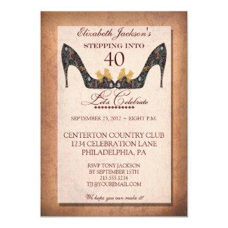 Vintage Floral Shoe 40th Birthday Invitation