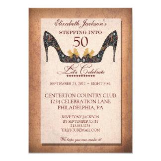 Vintage Floral Shoe 50th Birthday Invitation