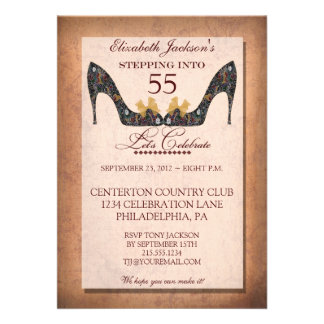 Vintage Floral Shoe 55th Birthday Party Invitation