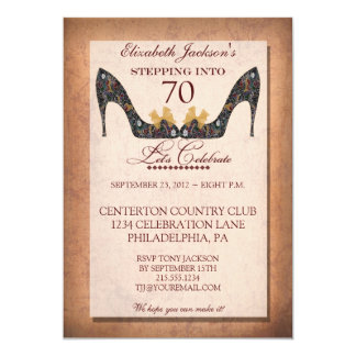 Vintage Floral Shoe 70th Birthday Party Invitation