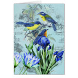 Vintage Floral Songbirds Apparel and Gifts Greeting Card