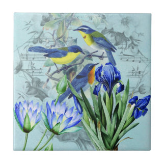 Vintage Floral Songbirds Apparel and Gifts Small Square Tile