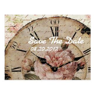 Vintage Floral steampunk Wedding save the date Postcard