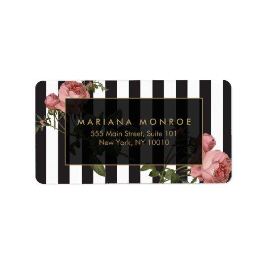 Vintage Floral Striped Address Label