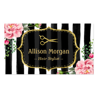 Vintage Floral Striped Hair Stylist Appointment Pack Of Standard Business Cards
