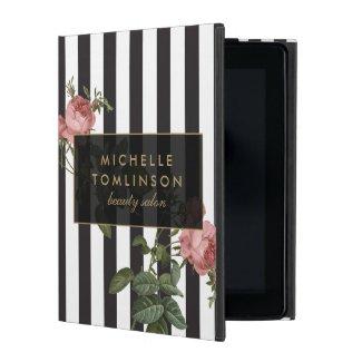 Vintage Floral Striped Personalised iPad Case