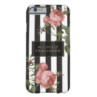 Vintage Floral Striped Personalised iPhone Case