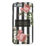 Vintage Floral Striped Personalised iPhone Case Barely There iPhone 6 Case