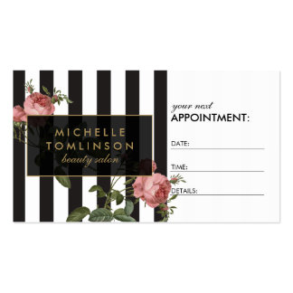 Vintage Floral Striped Salon Appointment Card Pack Of Standard Business Cards