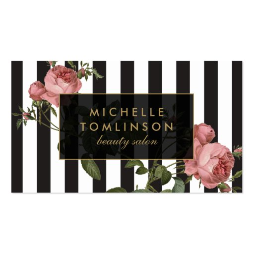 Premium fashion business card templates vintage floral striped salon business card reheart Image collections