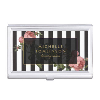Vintage Floral Striped Salon Business Card Holder