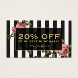 Vintage Floral Striped Salon Coupon Card