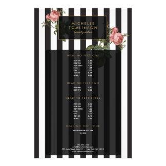 """Vintage Floral Striped Salon Flyer 5.5"""" X 8.5"""" Flyer"""