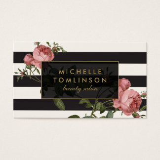 Vintage Floral Striped Salon II Black and Ivory Business Card