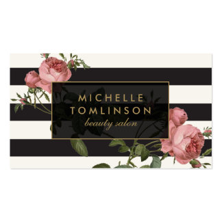 Vintage Floral Striped Salon II Black and Ivory Pack Of Standard Business Cards