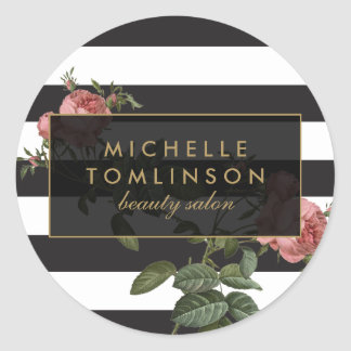 Vintage Floral Striped Salon II Classic Round Sticker