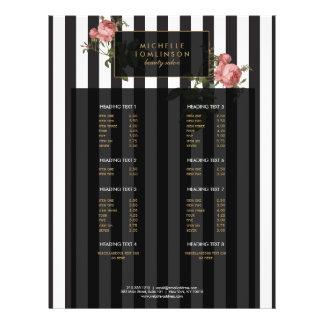 Vintage Floral Striped Salon Large Flyer
