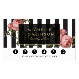 Vintage Floral Striped Salon Loyalty Card Pack Of Standard Business Cards