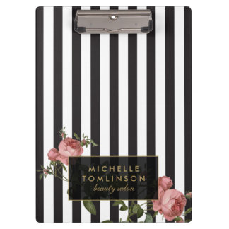 Vintage Floral Striped Salon Personalized Clipboards
