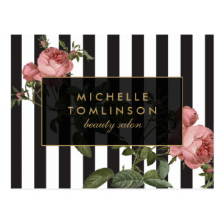 Vintage Floral Striped Salon Postcard