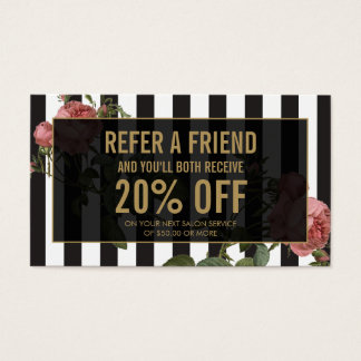 Vintage Floral Striped Salon Referral Card