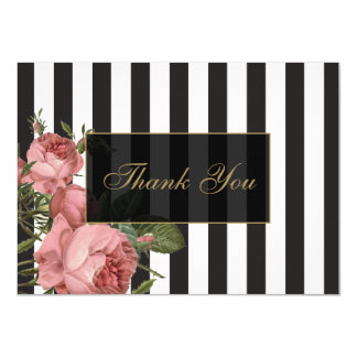 Vintage Floral Striped Salon Thank You Cards
