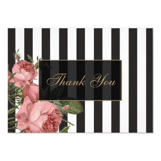 Vintage Floral Striped Salon Thank You Cards 11 Cm X 16 Cm Invitation Card