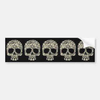 Vintage Floral Sugar Skull Bumper Sticker