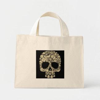 Vintage Floral Sugar Skull Mini Tote Bag