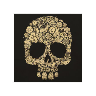 Vintage Floral Sugar Skull Wood Wall Art