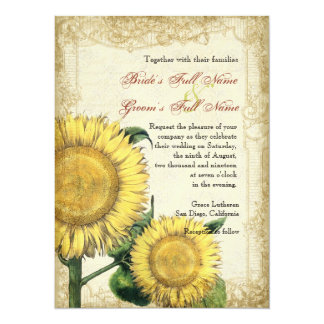 "Vintage Floral Sunflowers - Autumn Fall Wedding 5.5"" X 7.5"" Invitation Card"