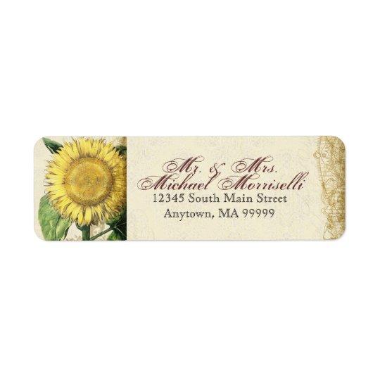 Vintage Floral Sunflowers - Autumn Fall Wedding Return Address Label