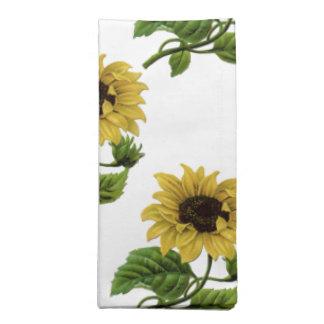 Vintage floral, sunflowers printed napkins