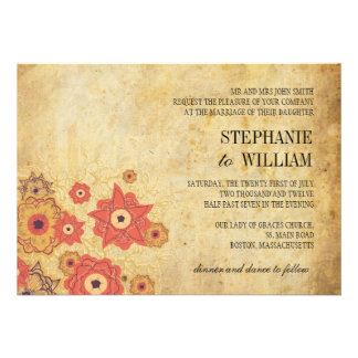 Vintage Floral Swirl Wedding Invitation