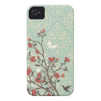 Vintage floral swirls damask + bird iphone 4 case