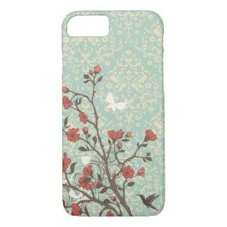 Vintage floral swirls damask + bird iPhone 7 case